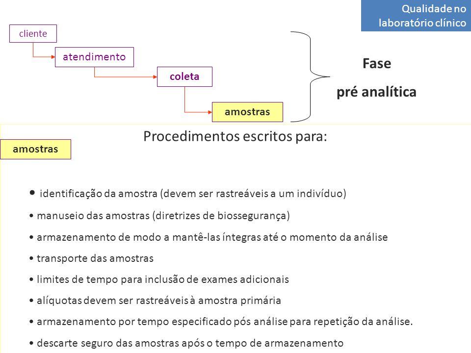 Qualidade no laboratório clínico atendimento coleta amostras cliente Fase pré analítica Procedimentos escritos para: identificação da amostra (devem ser rastreáveis a um indivíduo) manuseio das amostras (diretrizes de biossegurança) armazenamento de modo a mantê-las íntegras até o momento da análise transporte das amostras limites de tempo para inclusão de exames adicionais alíquotas devem ser rastreáveis à amostra primária armazenamento por tempo especificado pós análise para repetição da análise.