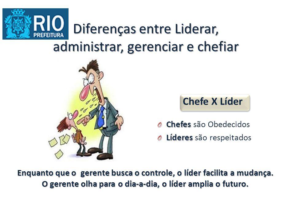 Diferenças entre Liderar, administrar, gerenciar e chefiar Chefe X Líder O Chefes O Chefes são Obedecidos O Líderes O Líderes são respeitados Enquanto que o gerente busca o controle, o líder facilita a mudança.