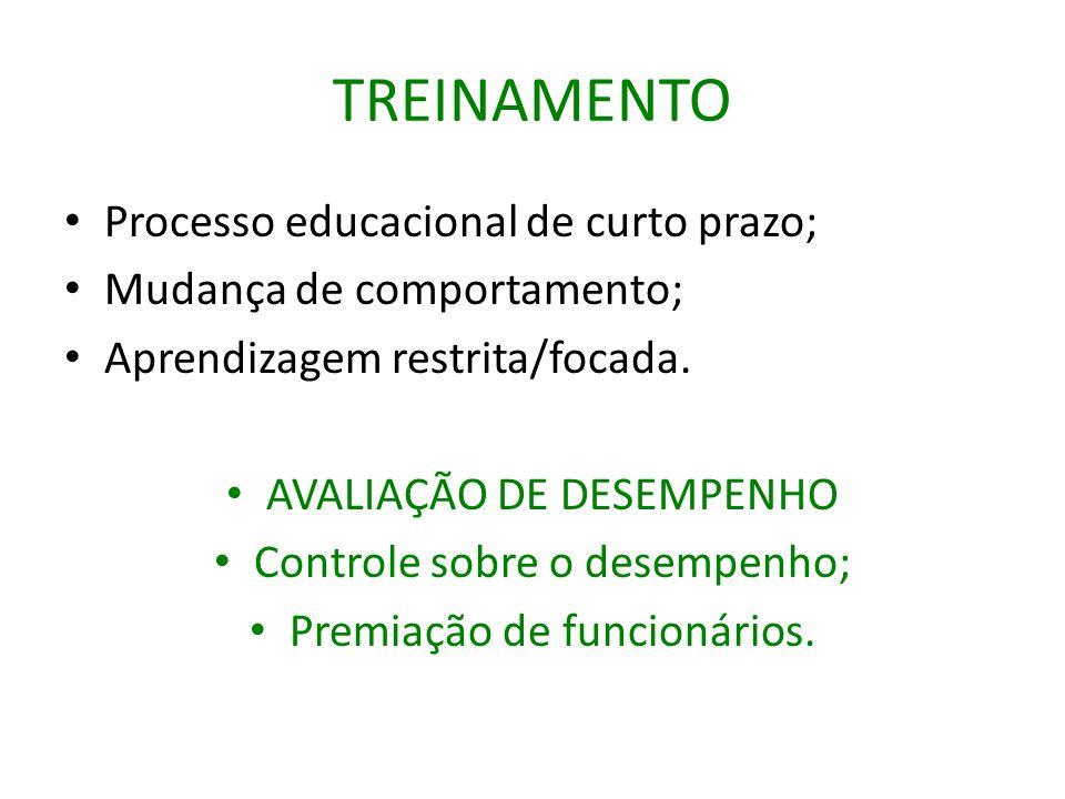TREINAMENTO Processo educacional de curto prazo; Mudança de comportamento; Aprendizagem restrita/focada. AVALIAÇÃO DE DESEMPENHO Controle sobre o dese