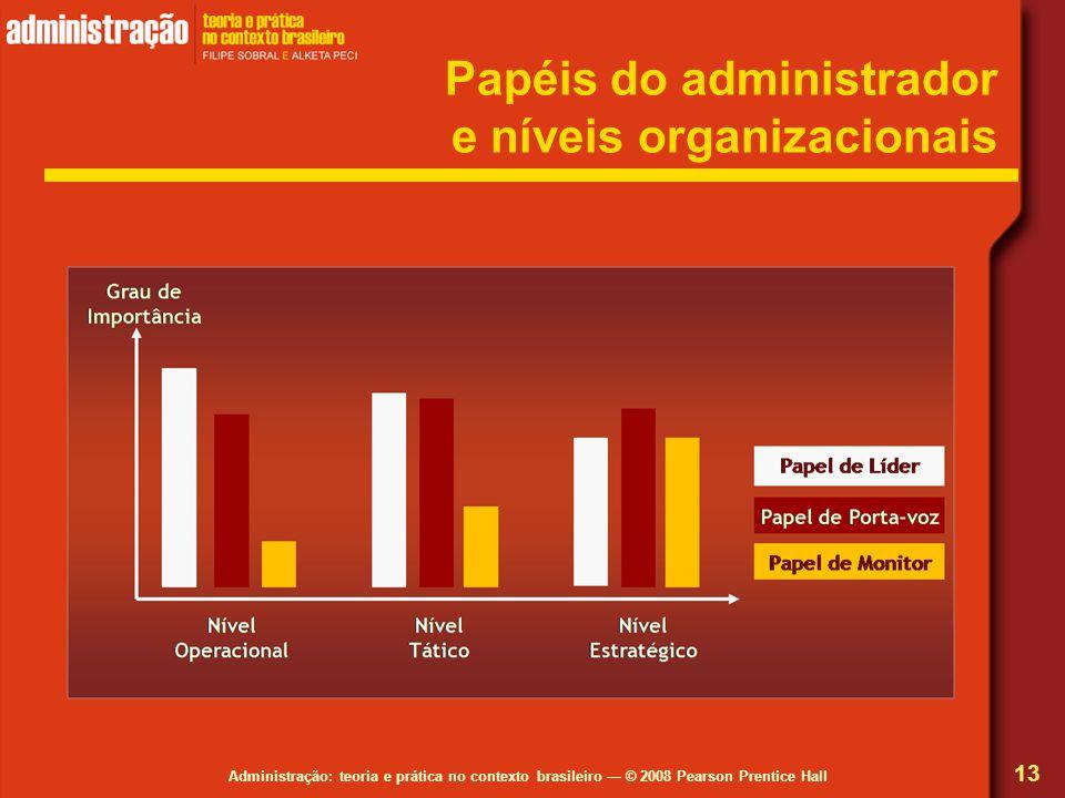 Administração: teoria e prática no contexto brasileiro © 2008 Pearson Prentice Hall Papéis do administrador e níveis organizacionais 13