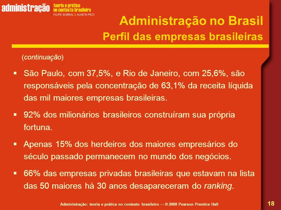 Administração: teoria e prática no contexto brasileiro © 2008 Pearson Prentice Hall Administração no Brasil Perfil das empresas brasileiras São Paulo,