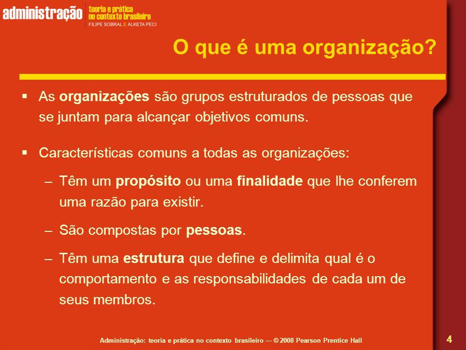 Administração: teoria e prática no contexto brasileiro © 2008 Pearson Prentice Hall O que é uma organização? As organizações são grupos estruturados d