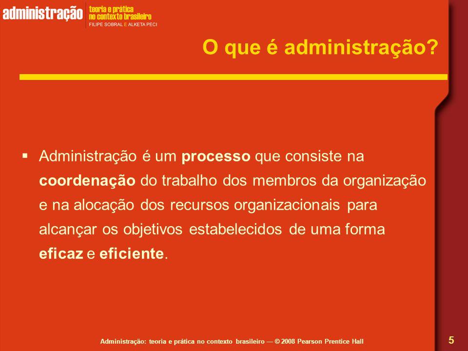 Administração: teoria e prática no contexto brasileiro © 2008 Pearson Prentice Hall O que é administração? Administração é um processo que consiste na
