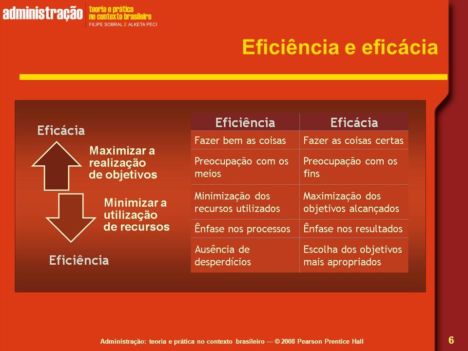 Administração: teoria e prática no contexto brasileiro © 2008 Pearson Prentice Hall Eficiência e eficácia 6
