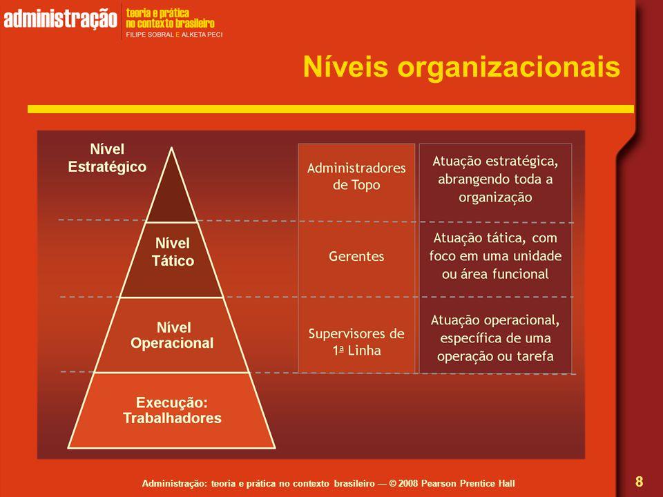 Administração: teoria e prática no contexto brasileiro © 2008 Pearson Prentice Hall Níveis organizacionais 8