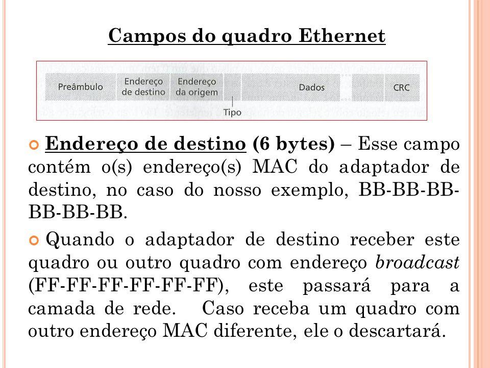 Campos do quadro Ethernet Endereço de destino (6 bytes) – Esse campo contém o(s) endereço(s) MAC do adaptador de destino, no caso do nosso exemplo, BB