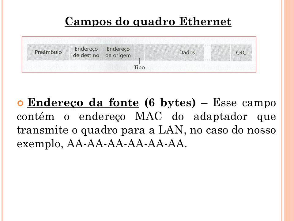 Campos do quadro Ethernet Endereço da fonte (6 bytes) – Esse campo contém o endereço MAC do adaptador que transmite o quadro para a LAN, no caso do no