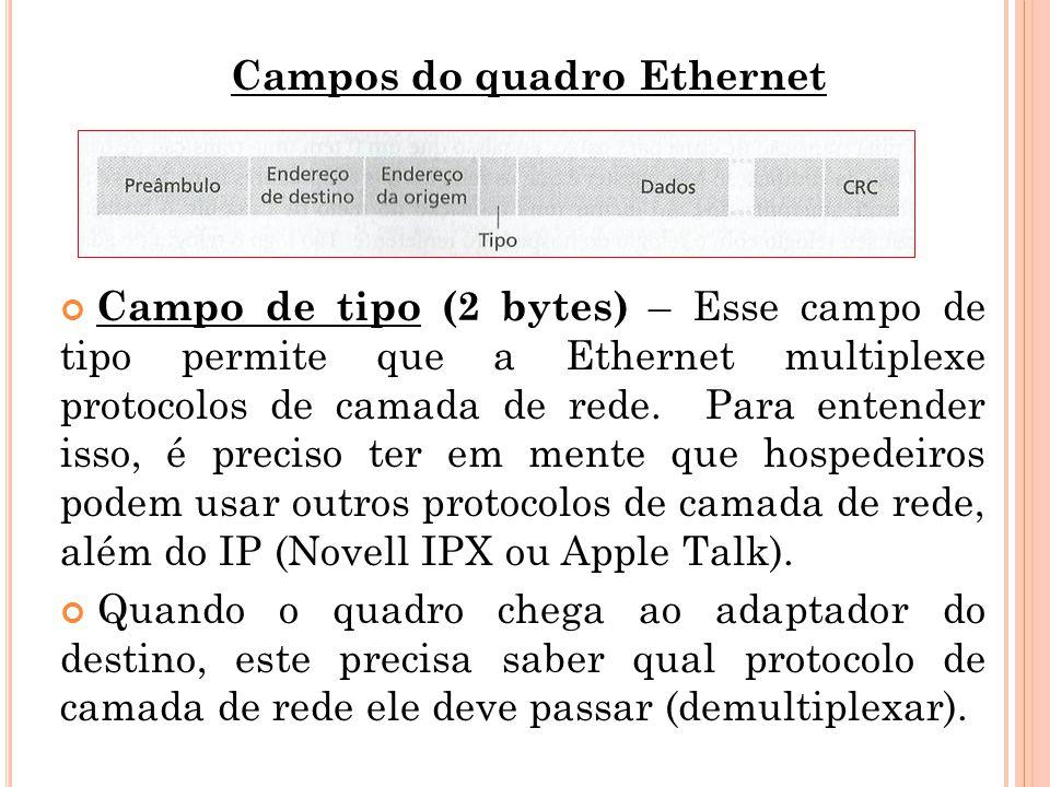 Campos do quadro Ethernet Campo de tipo (2 bytes) – Esse campo de tipo permite que a Ethernet multiplexe protocolos de camada de rede. Para entender i