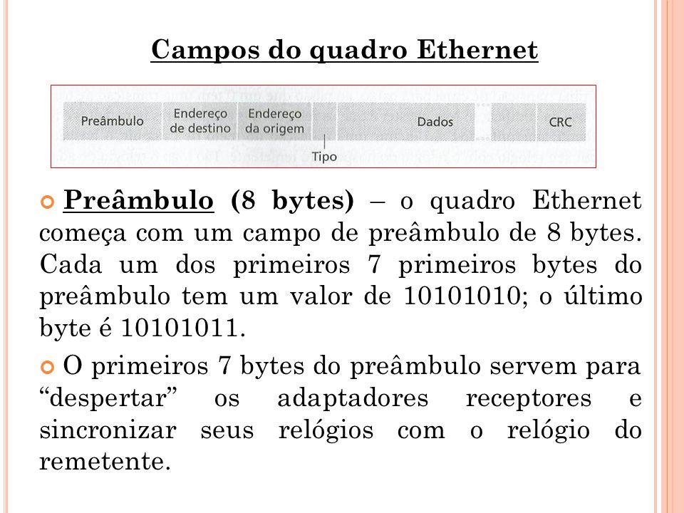 Campos do quadro Ethernet Preâmbulo (8 bytes) – o quadro Ethernet começa com um campo de preâmbulo de 8 bytes. Cada um dos primeiros 7 primeiros bytes