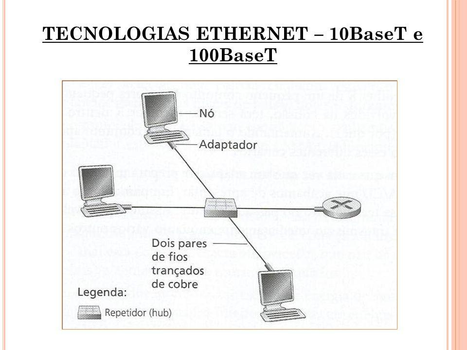 TECNOLOGIAS ETHERNET – 10BaseT e 100BaseT