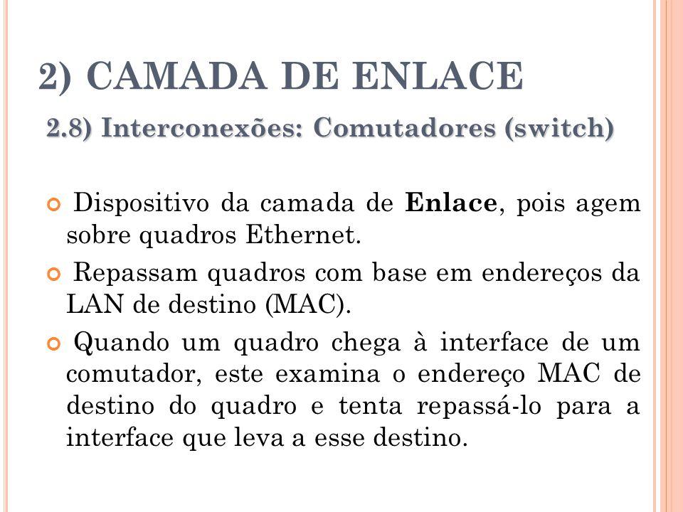 2) CAMADA DE ENLACE 2.8) Interconexões: Comutadores (switch) Dispositivo da camada de Enlace, pois agem sobre quadros Ethernet. Repassam quadros com b