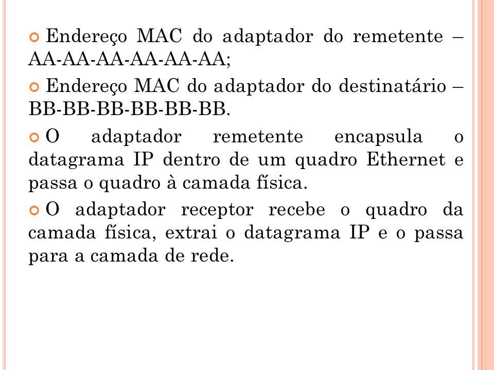 Campos do quadro Ethernet Campo de Dados (46 a 1.500 bytes) – este campo carrega o datagrama IP.