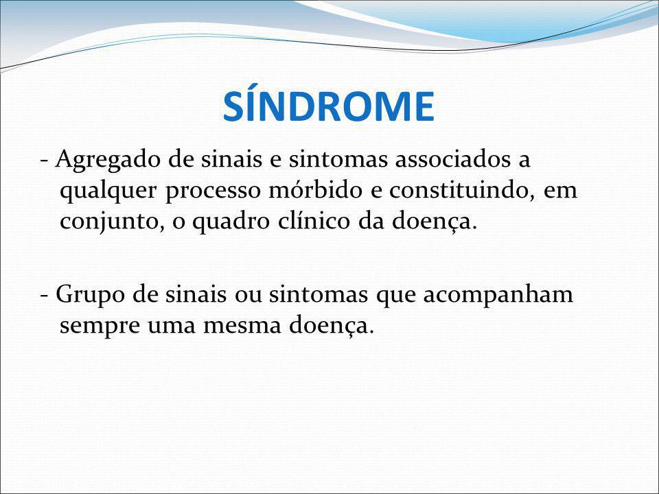SINAL X SINTOMA - Sintomas = alterações subjetivas; o que não se pode medir; o sintoma deve ser relatado P.