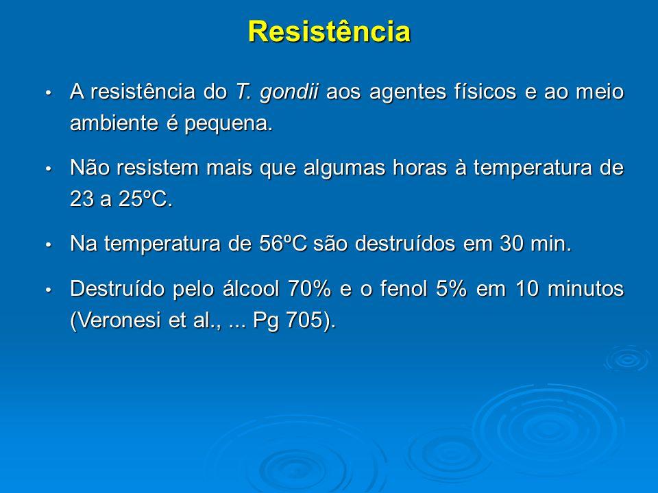 Resistência A resistência do T.gondii aos agentes físicos e ao meio ambiente é pequena.
