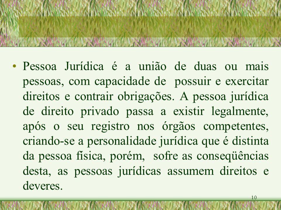 10 Pessoa Jurídica é a união de duas ou mais pessoas, com capacidade de possuir e exercitar direitos e contrair obrigações. A pessoa jurídica de direi
