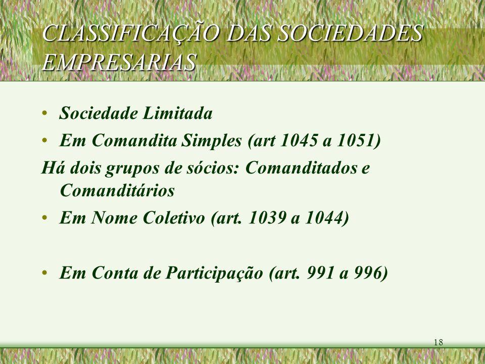 18 CLASSIFICAÇÃO DAS SOCIEDADES EMPRESARIAS Sociedade Limitada Em Comandita Simples (art 1045 a 1051) Há dois grupos de sócios: Comanditados e Comandi