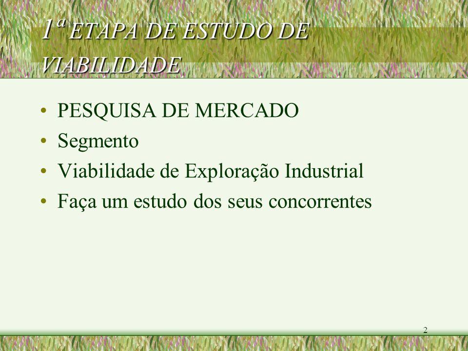 2 1ª ETAPA DE ESTUDO DE VIABILIDADE PESQUISA DE MERCADO Segmento Viabilidade de Exploração Industrial Faça um estudo dos seus concorrentes