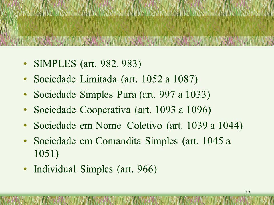22 SIMPLES (art. 982. 983) Sociedade Limitada (art. 1052 a 1087) Sociedade Simples Pura (art. 997 a 1033) Sociedade Cooperativa (art. 1093 a 1096) Soc