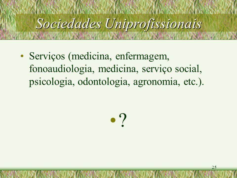25 Sociedades Uniprofissionais Serviços (medicina, enfermagem, fonoaudiologia, medicina, serviço social, psicologia, odontologia, agronomia, etc.). ?