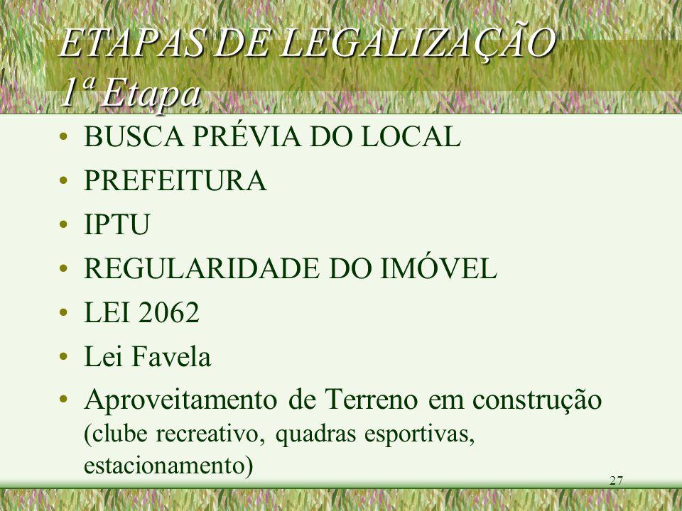 27 ETAPAS DE LEGALIZAÇÃO 1ª Etapa BUSCA PRÉVIA DO LOCAL PREFEITURA IPTU REGULARIDADE DO IMÓVEL LEI 2062 Lei Favela Aproveitamento de Terreno em constr