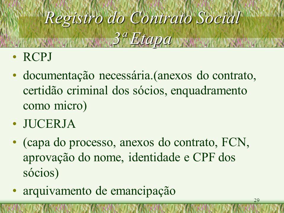 29 Registro do Contrato Social 3ª Etapa RCPJ documentação necessária.(anexos do contrato, certidão criminal dos sócios, enquadramento como micro) JUCE