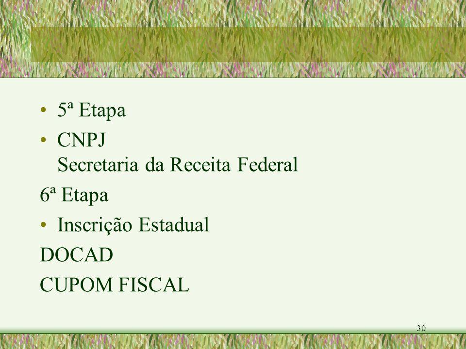 30 5ª Etapa CNPJ Secretaria da Receita Federal 6ª Etapa Inscrição Estadual DOCAD CUPOM FISCAL