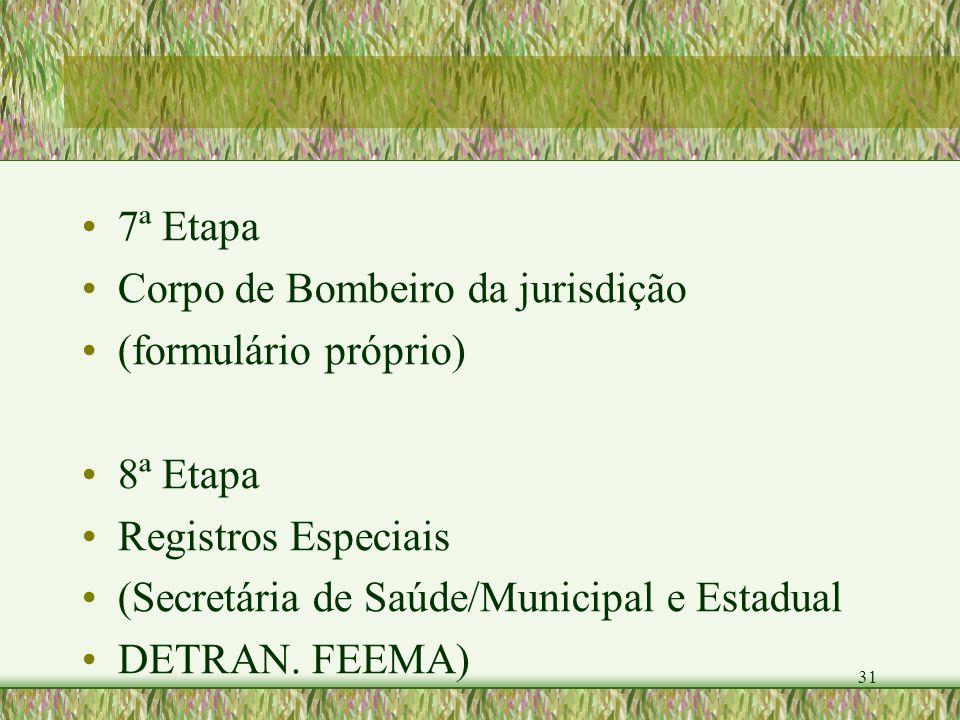 31 7ª Etapa Corpo de Bombeiro da jurisdição (formulário próprio) 8ª Etapa Registros Especiais (Secretária de Saúde/Municipal e Estadual DETRAN. FEEMA)