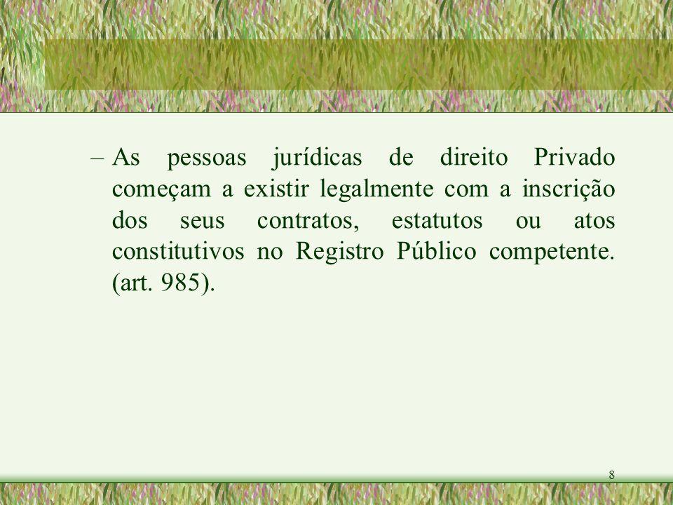 8 – –As pessoas jurídicas de direito Privado começam a existir legalmente com a inscrição dos seus contratos, estatutos ou atos constitutivos no Regis