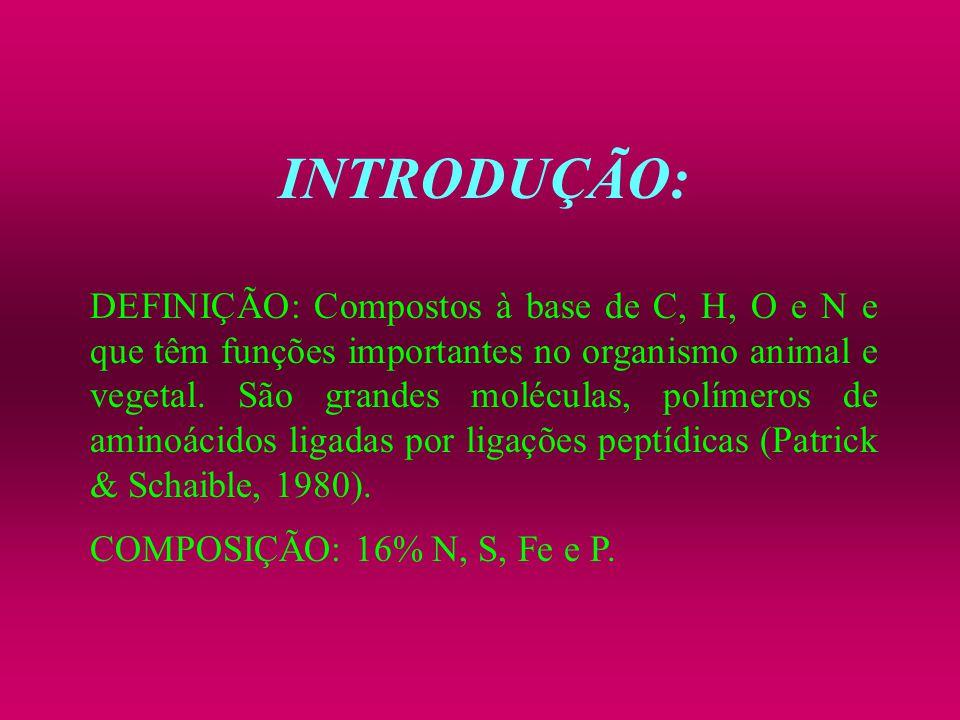 INTRODUÇÃO: DEFINIÇÃO: Compostos à base de C, H, O e N e que têm funções importantes no organismo animal e vegetal. São grandes moléculas, polímeros d