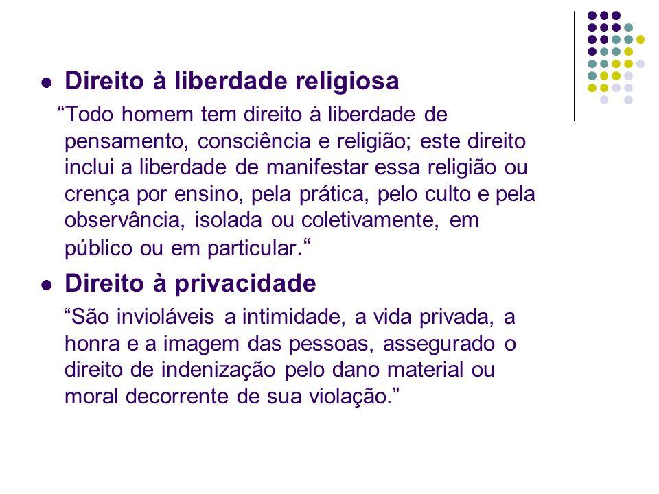 Direito à liberdade religiosa Todo homem tem direito à liberdade de pensamento, consciência e religião; este direito inclui a liberdade de manifestar essa religião ou crença por ensino, pela prática, pelo culto e pela observância, isolada ou coletivamente, em público ou em particular.