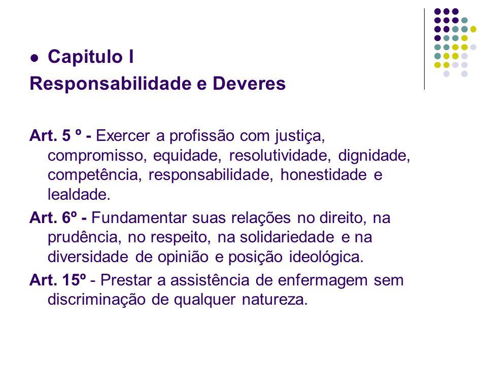 Capitulo I Responsabilidade e Deveres Art. 5 º - Exercer a profissão com justiça, compromisso, equidade, resolutividade, dignidade, competência, respo