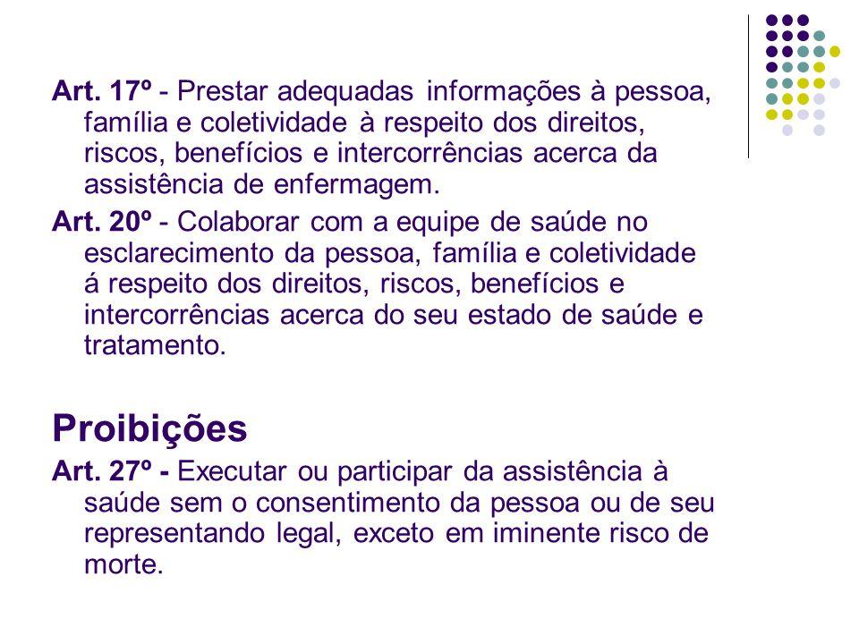 Art. 17º - Prestar adequadas informações à pessoa, família e coletividade à respeito dos direitos, riscos, benefícios e intercorrências acerca da assi