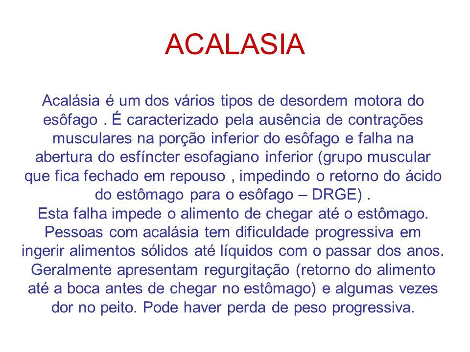 ACALASIA Acalásia é um dos vários tipos de desordem motora do esôfago.