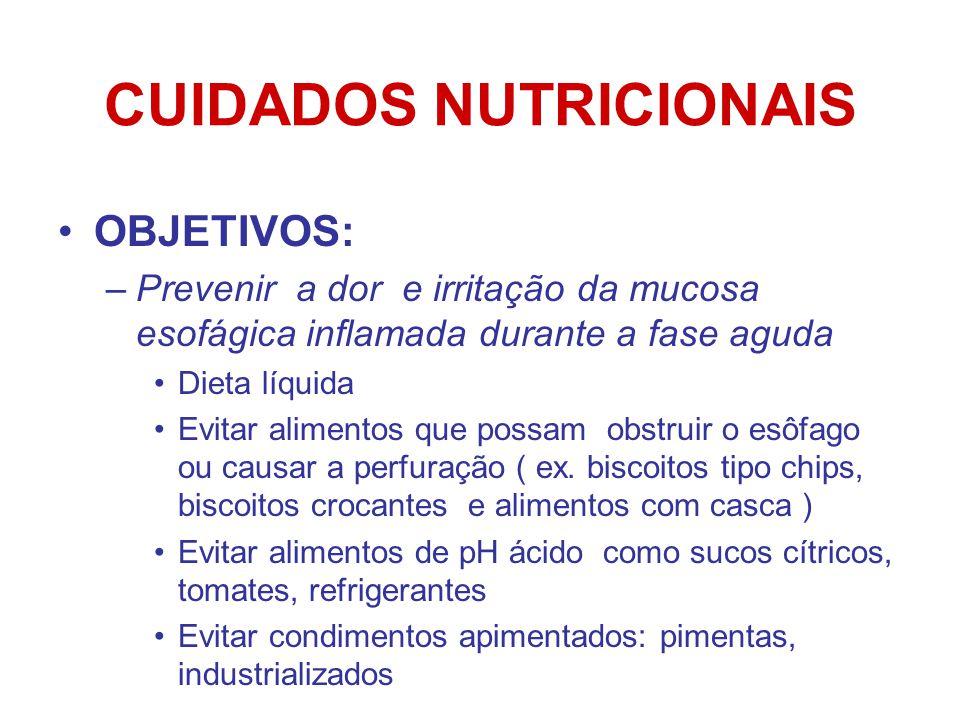 CUIDADOS NUTRICIONAIS OBJETIVOS: –Prevenir a dor e irritação da mucosa esofágica inflamada durante a fase aguda Dieta líquida Evitar alimentos que possam obstruir o esôfago ou causar a perfuração ( ex.