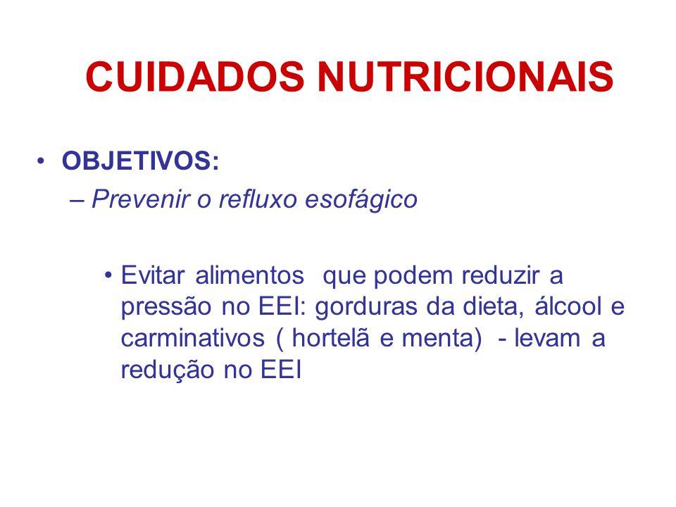CUIDADOS NUTRICIONAIS OBJETIVOS: –Prevenir o refluxo esofágico Evitar alimentos que podem reduzir a pressão no EEI: gorduras da dieta, álcool e carminativos ( hortelã e menta) - levam a redução no EEI