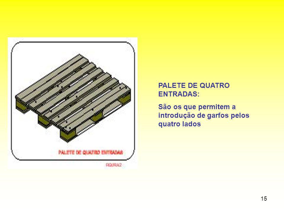 15 PALETE DE QUATRO ENTRADAS: São os que permitem a introdução de garfos pelos quatro lados