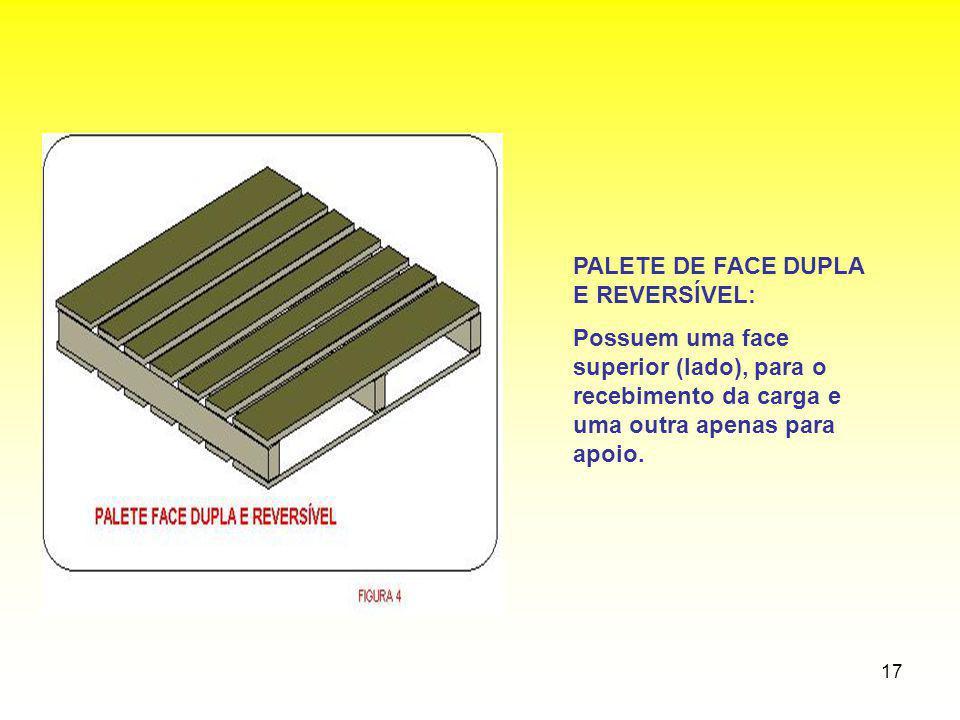 17 PALETE DE FACE DUPLA E REVERSÍVEL: Possuem uma face superior (lado), para o recebimento da carga e uma outra apenas para apoio.