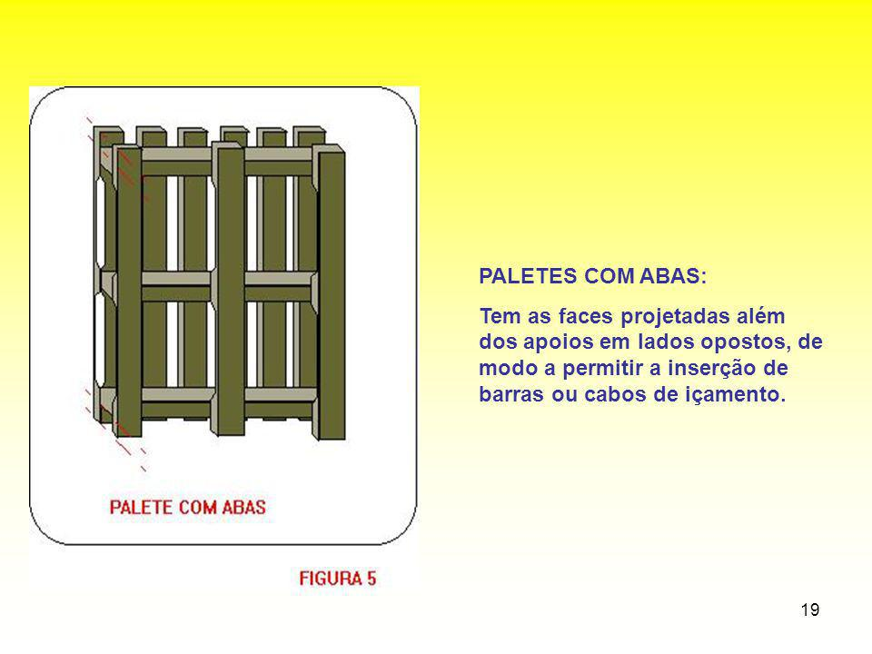 19 PALETES COM ABAS: Tem as faces projetadas além dos apoios em lados opostos, de modo a permitir a inserção de barras ou cabos de içamento.