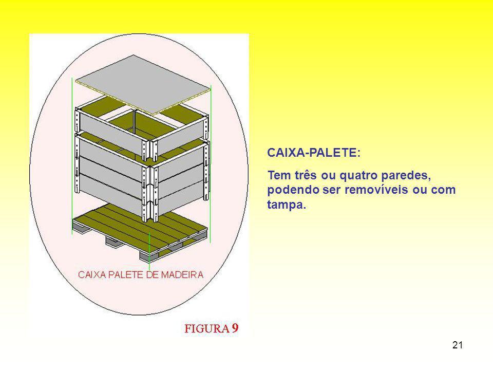 21 CAIXA-PALETE: Tem três ou quatro paredes, podendo ser removíveis ou com tampa.
