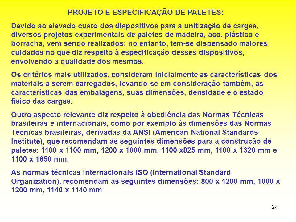 24 PROJETO E ESPECIFICAÇÃO DE PALETES: Devido ao elevado custo dos dispositivos para a unitização de cargas, diversos projetos experimentais de palete