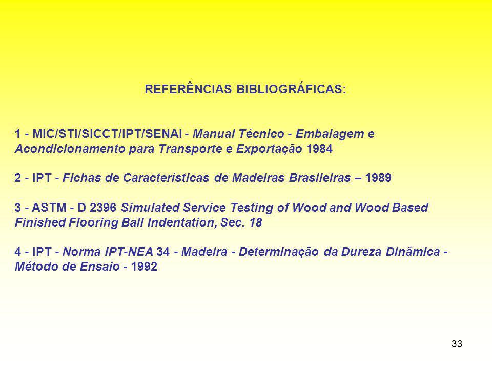 33 REFERÊNCIAS BIBLIOGRÁFICAS: 1 - MIC/STI/SICCT/IPT/SENAI - Manual Técnico - Embalagem e Acondicionamento para Transporte e Exportação 1984 2 - IPT -
