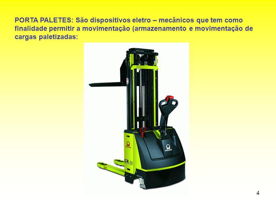 4 PORTA PALETES: São dispositivos eletro – mecânicos que tem como finalidade permitir a movimentação (armazenamento e movimentação de cargas paletizad
