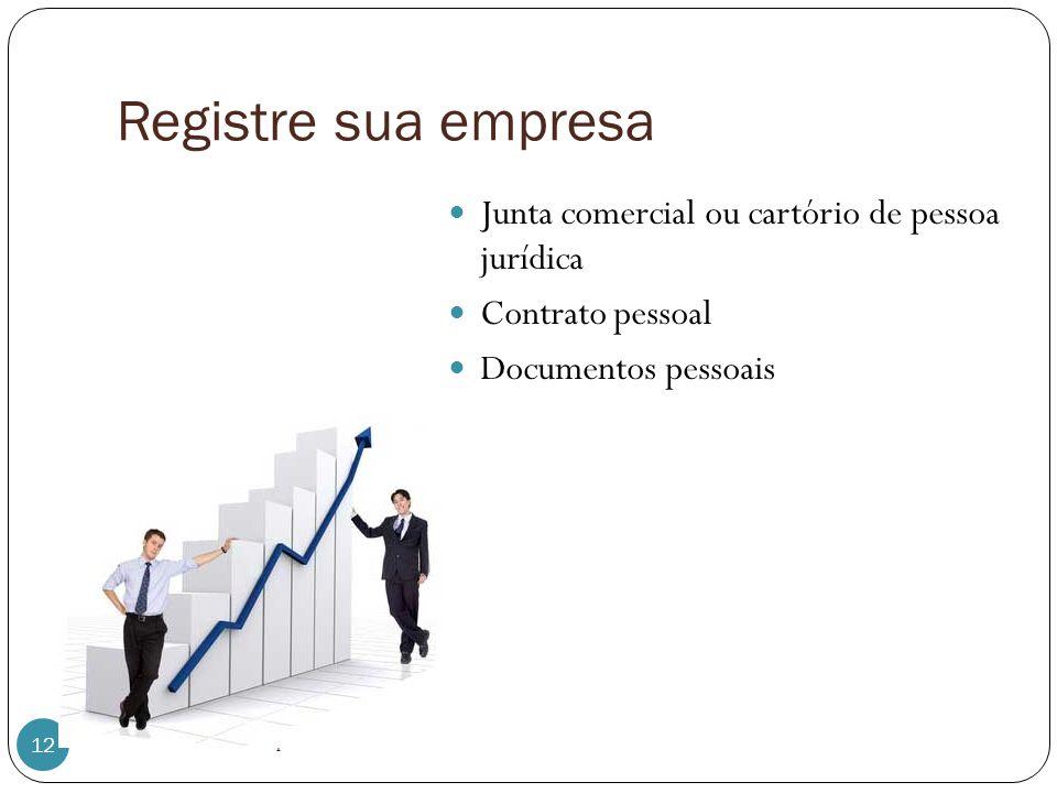 Registre sua empresa Junta comercial ou cartório de pessoa jurídica Contrato pessoal Documentos pessoais 12 Albertina Sousa - Empreendedorismo