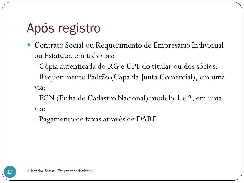 Após registro Contrato Social ou Requerimento de Empresário Individual ou Estatuto, em três vias; - Cópia autenticada do RG e CPF do titular ou dos só