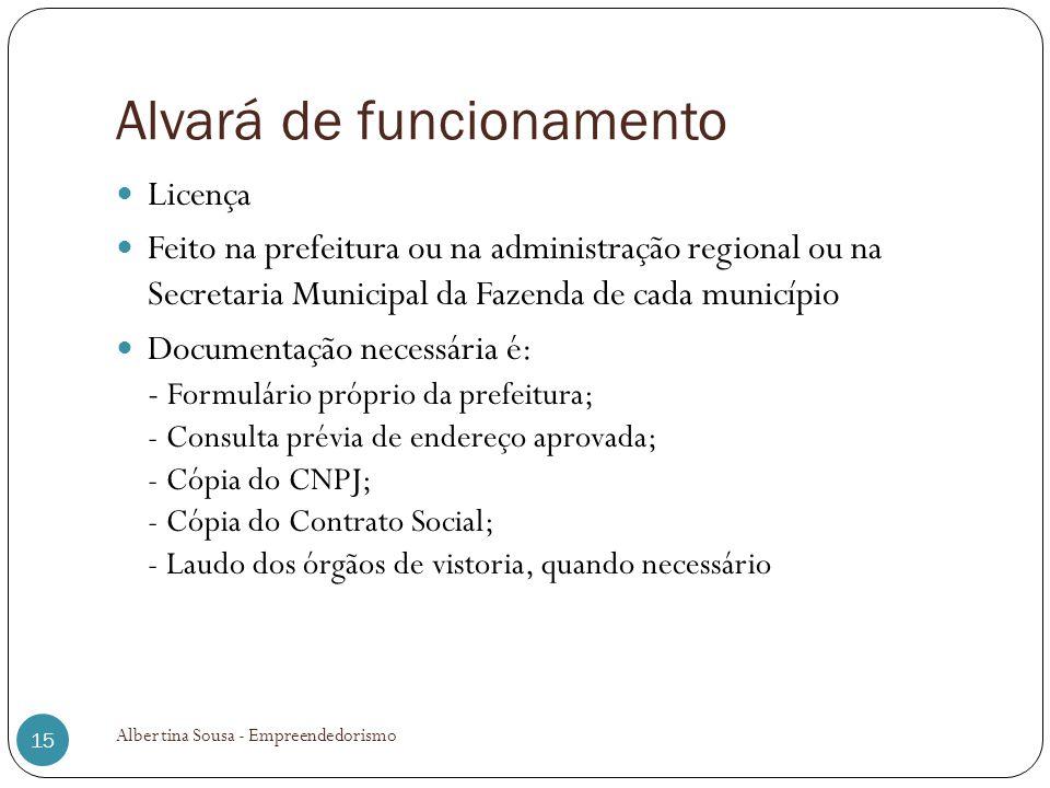 Alvará de funcionamento Licença Feito na prefeitura ou na administração regional ou na Secretaria Municipal da Fazenda de cada município Documentação