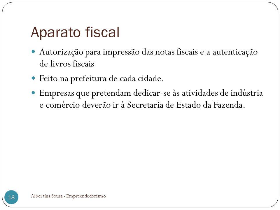 Aparato fiscal Autorização para impressão das notas fiscais e a autenticação de livros fiscais Feito na prefeitura de cada cidade. Empresas que preten