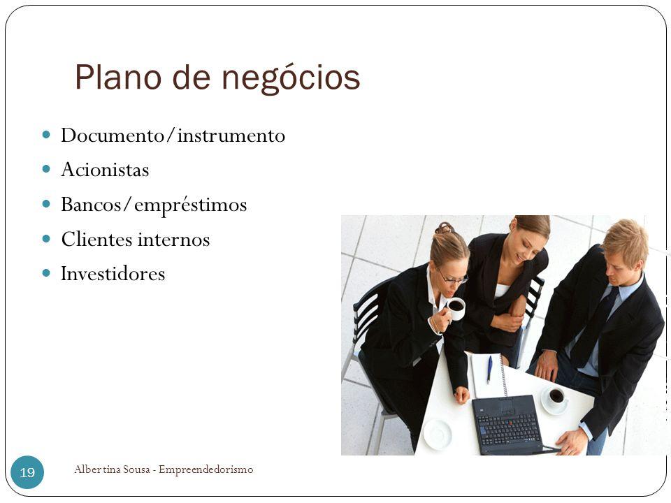 Plano de negócios Documento/instrumento Acionistas Bancos/empréstimos Clientes internos Investidores 19 Albertina Sousa - Empreendedorismo