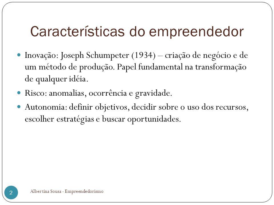 Características do empreendedor Inovação: Joseph Schumpeter (1934) – criação de negócio e de um método de produção. Papel fundamental na transformação