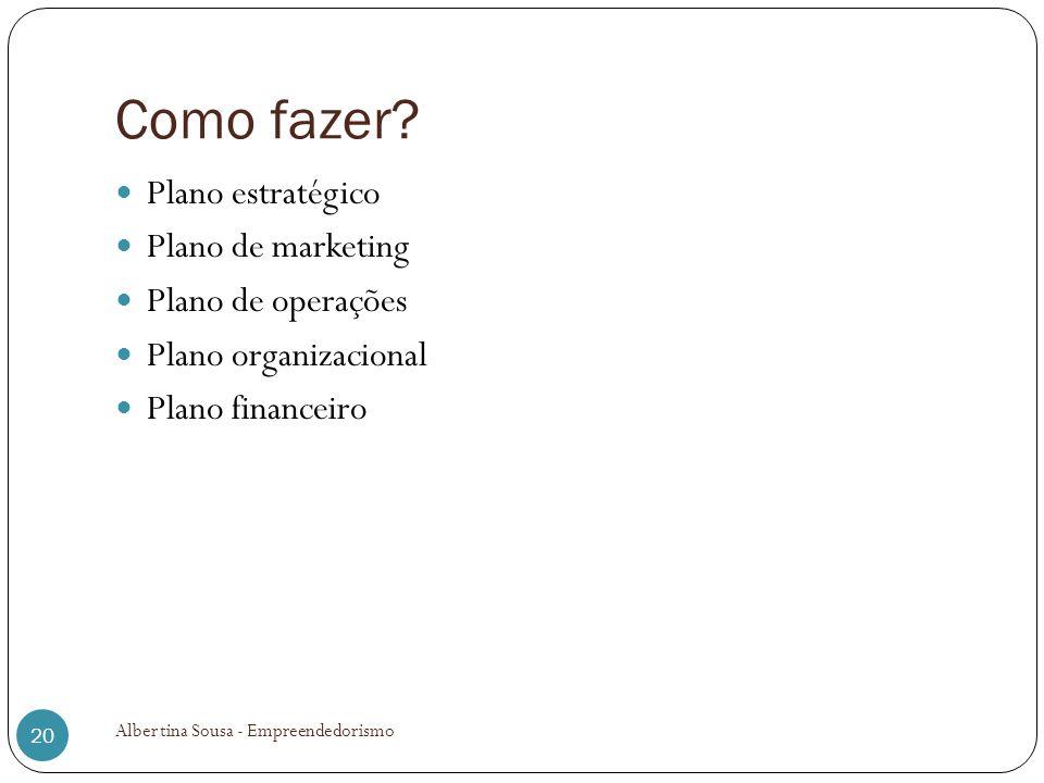 Como fazer? Plano estratégico Plano de marketing Plano de operações Plano organizacional Plano financeiro 20 Albertina Sousa - Empreendedorismo