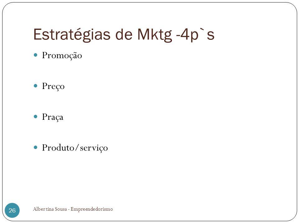 Estratégias de Mktg -4p`s Promoção Preço Praça Produto/serviço Albertina Sousa - Empreendedorismo 26